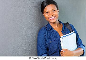 jovem, africano, universidade, menina