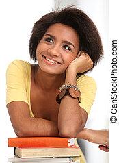 jovem, afro, mulher, estudar, com, livros