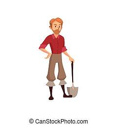 jovem, agricultor, com, pá, jardineiro, no trabalho, caricatura, vetorial, ilustração