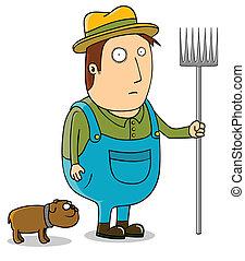 jovem, agricultor, e, seu, cão