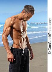 jovem, ajustar, muscular, homem