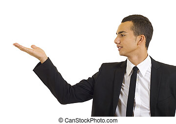 jovem, alegre, homem negócio, dando uma apresentação