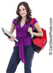jovem, aluno feminino