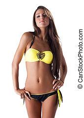 jovem, amarela, isolado, swimsuit, mulher, bonito