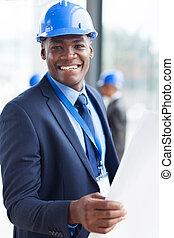 jovem, americano africano, construção, gerente