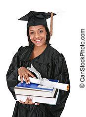jovem, americano, africano feminino, grad, feliz