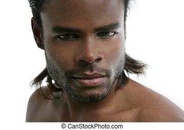 jovem, americano, africano, retrato, bonito, homem