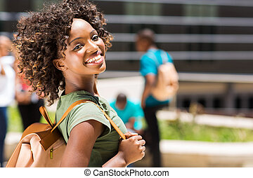 jovem, americano, faculdade, africano, menina, campus