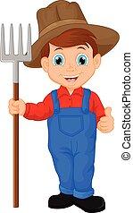 jovem, ancinho, caricatura, segurando, agricultor