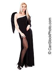 jovem, anjo, vestido preto, asas, mulher, bonito