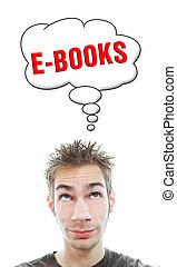 jovem, aproximadamente, homem, pensa, ebooks