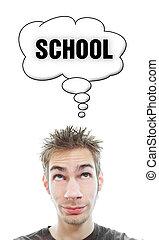 jovem, aproximadamente, homem, pensa, escola