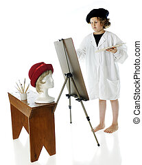 jovem, artista, no trabalho