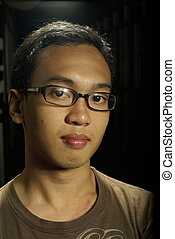 jovem, asian tripulam, retrato