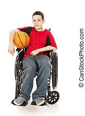 jovem, atleta, -, incapacidade