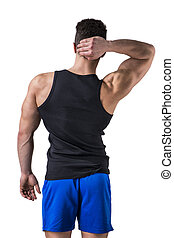 jovem, atraente, costas, muscular, homem