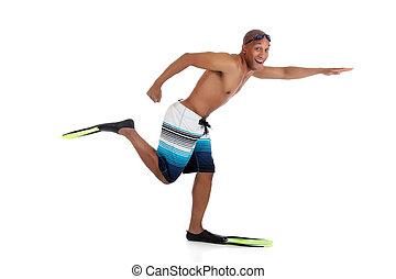 jovem, atraente, homem americano africano, em, swimsuit,...