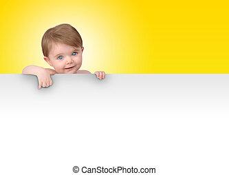 jovem, bebê, segurando, sinal branco, mensagem