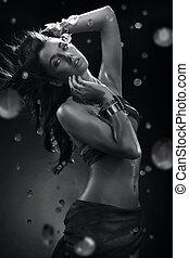 jovem, beleza, dançar, com, água, respingo