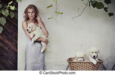 jovem, beleza, e, filhotes cachorro, em, cesta