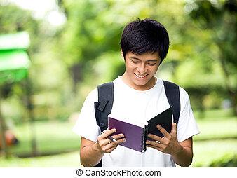 jovem, bonito, asiático, estudante