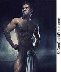 jovem, bonito, atleta, ficar chuva