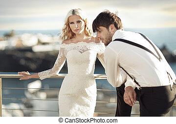 jovem, bonito, casamento, par, em, a, exoticas, lugar