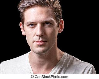 jovem, bonito, caucasiano, macho