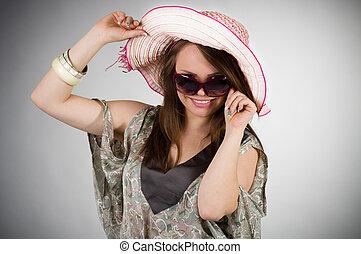jovem, bonito, chapéu, mulher