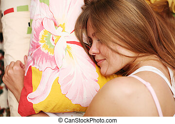 jovem, bonito, dormir, mulher