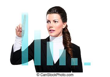 jovem, bonito, feliz, mulher negócio, mostrando, digital, gráficos