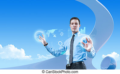 jovem, bonito, homem negócios, usando, futurista, hologram, interface, em, a, bio, estilo, interior., futuro, conceitos, collection.