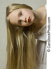 jovem, bonito, menina, com, longo, cabelo loiro