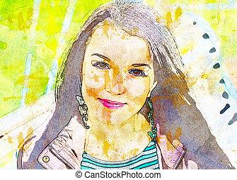 jovem, bonito, menina, em, outono, park., a, efeito, de, óleo, paints.