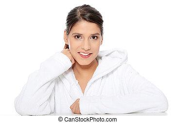 jovem, bonito, mulher feliz, em, bathrobe