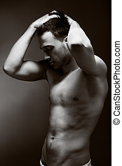 jovem, bonito, muscular, homem