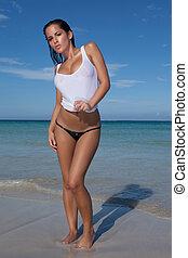 jovem, bonito, praia, mulher