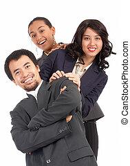 jovem, businesspeople, optimista