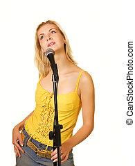 jovem, cantando, menina, isolado, branco, fundo