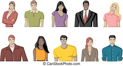 jovem, caricatura, pessoas