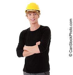 jovem, casual, homem, em, amarela, capacete