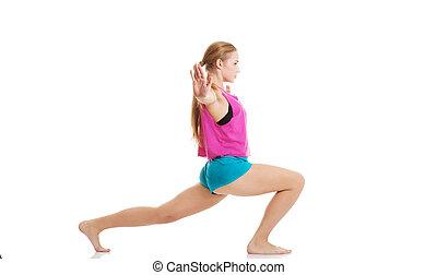 jovem, caucasiano, mulher, é, exercitar, esticar, herself.