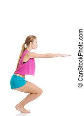 jovem, caucasiano, mulher, é, fazendo, exercises.
