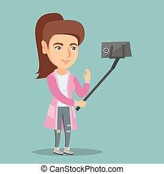 jovem, caucasiano, mulher, fazer, selfie.