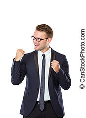 jovem, celebrando, Feliz, vitória, homem negócios