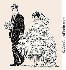 jovem, cerimônia, par, casório