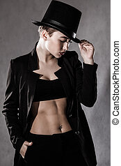 jovem, chapéu preto, mulher, bonito
