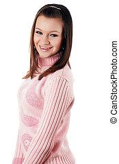 jovem, charming, morena, em, um, suéter
