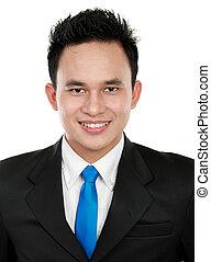 jovem, closeup, asiático, retrato, sorrir feliz, homem