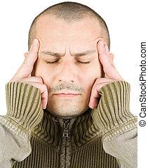 jovem, concentração, dor de cabeça, expressão, ou, homem